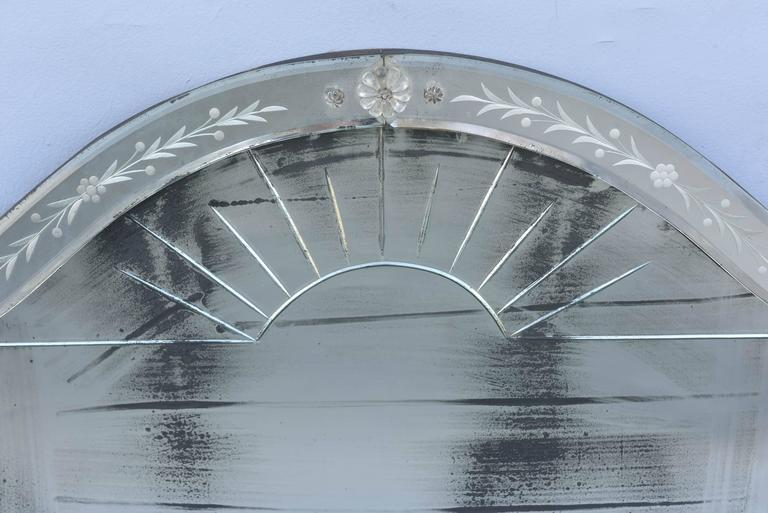 20th Century Etched Venetian Glass Overmantel Mirror For Sale