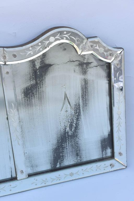 Etched Venetian Glass Overmantel Mirror For Sale 1