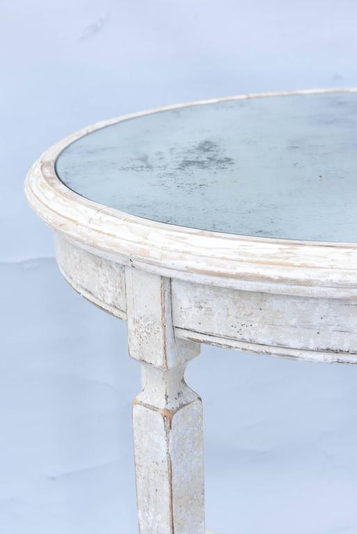 Peruvian Painted Occasional Table with Mirrored Top For Sale
