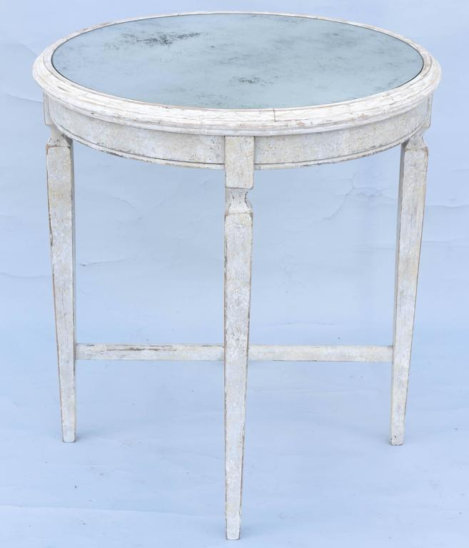 Painted Occasional Table with Mirrored Top For Sale 2