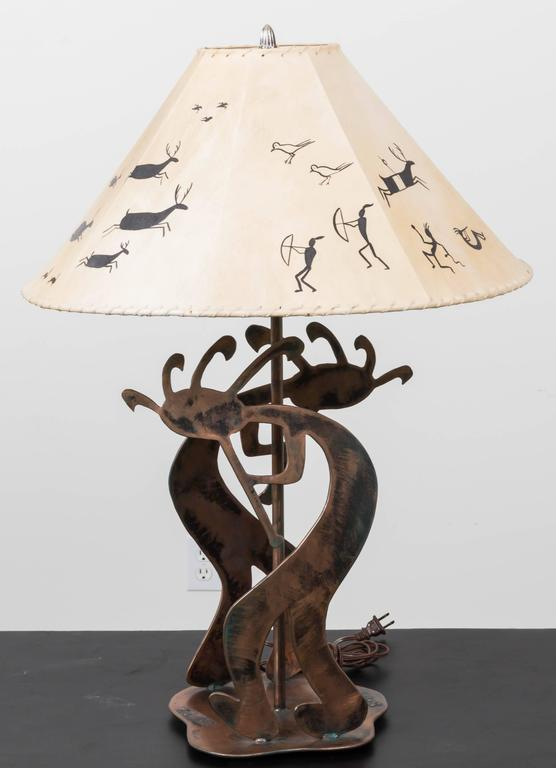 Copper Table Lamp with Stylized Native American Motifs and Leather Shade For Sale 4
