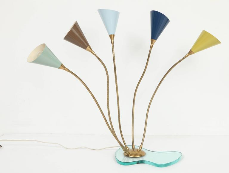 Italian Stilnovo Table Lamp, Enameled Metal Shades on Glass Base, circa 1960s For Sale