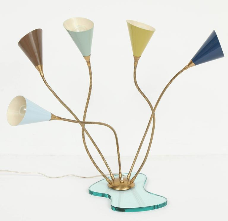 Stilnovo Table Lamp, Enameled Metal Shades on Glass Base, circa 1960s For Sale 1