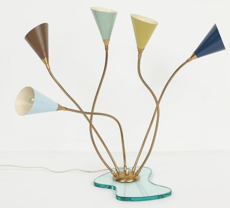 Stilnovo Table Lamp, Enameled Metal Shades on Glass Base, circa 1960s For Sale 2