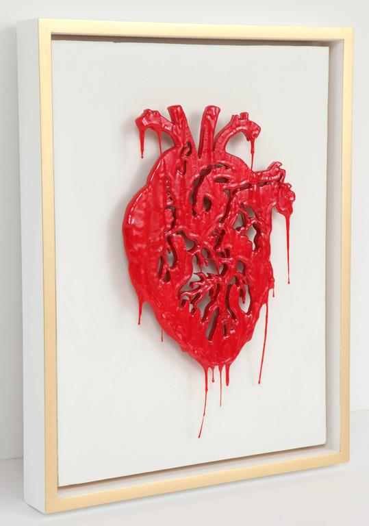 "Modern Peter Buchman ""Heart"" Enamel and Resin on Wood with Gold Leaf Frame, 2015 For Sale"