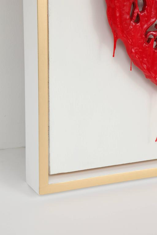 "American Peter Buchman ""Heart"" Enamel and Resin on Wood with Gold Leaf Frame, 2015 For Sale"