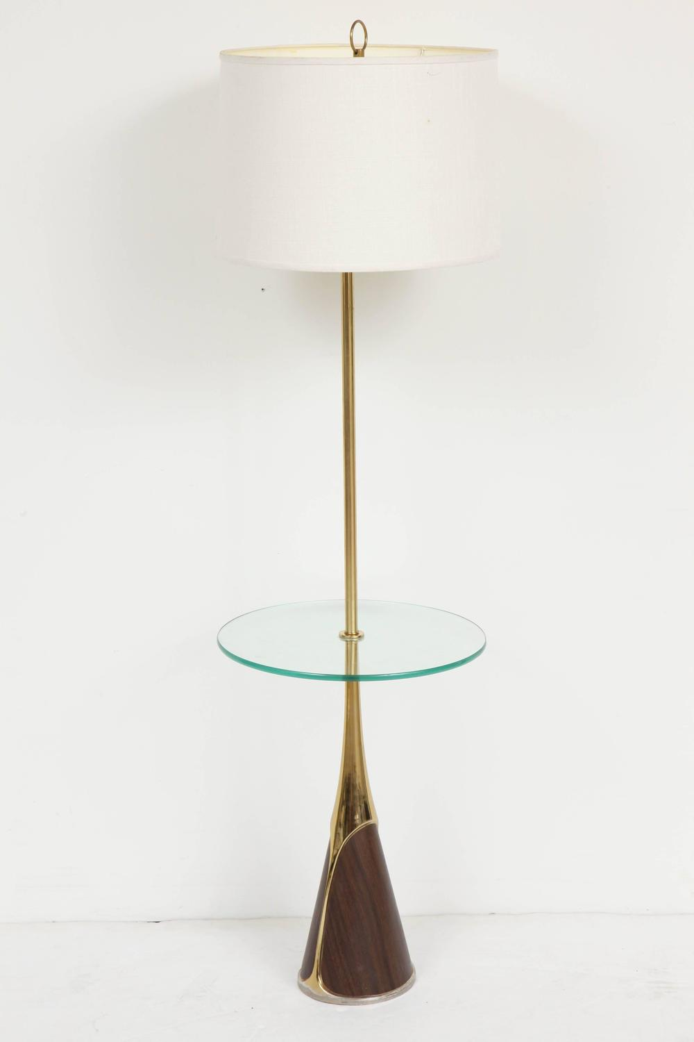 laurel floor lamp with table shelf for sale at 1stdibs. Black Bedroom Furniture Sets. Home Design Ideas