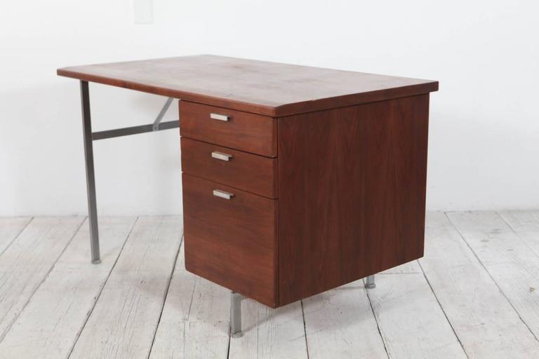 Mid-20th Century Midcentury Walnut and Stainless Steel Three-Drawer Desk For Sale