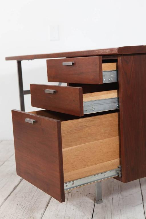 Midcentury Walnut and Stainless Steel Three-Drawer Desk For Sale 1