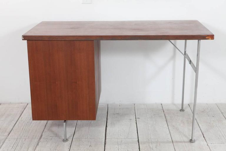 Midcentury Walnut and Stainless Steel Three-Drawer Desk 7