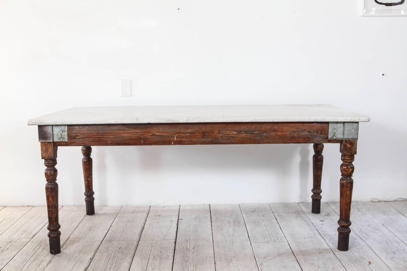 Italian Farm Table With White Marble Top At Stdibs - Marble top farm table