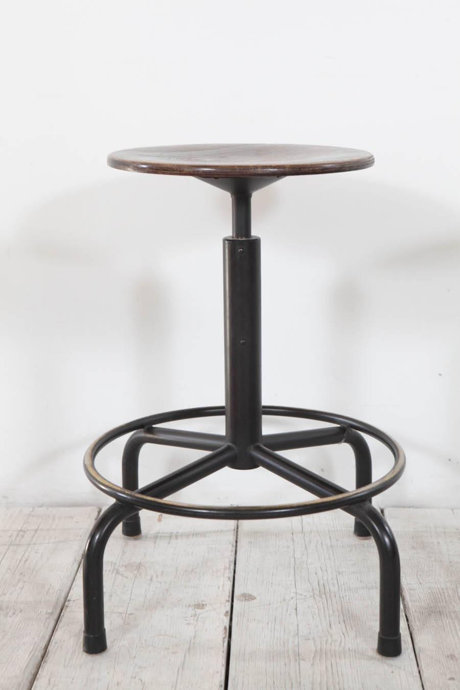 Counter Height Metal Bar Stools : Metal and Wood Swivel Adjustable Height Counter Stool at 1stdibs