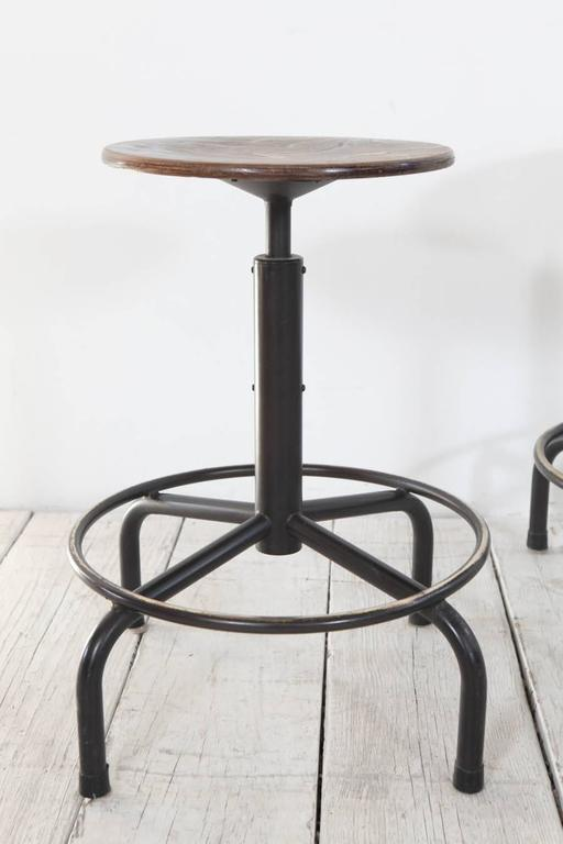 Metal And Wood Swivel Adjustable Height Counter Stool At
