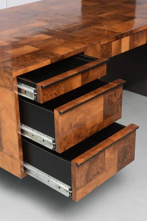 American Modern Burled Walnut and Pewter Cityscape Desk, Paul Evans In Excellent Condition For Sale In Miami, FL