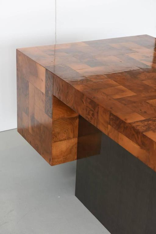 American Modern Burled Walnut and Pewter Cityscape Desk, Paul Evans For Sale 3