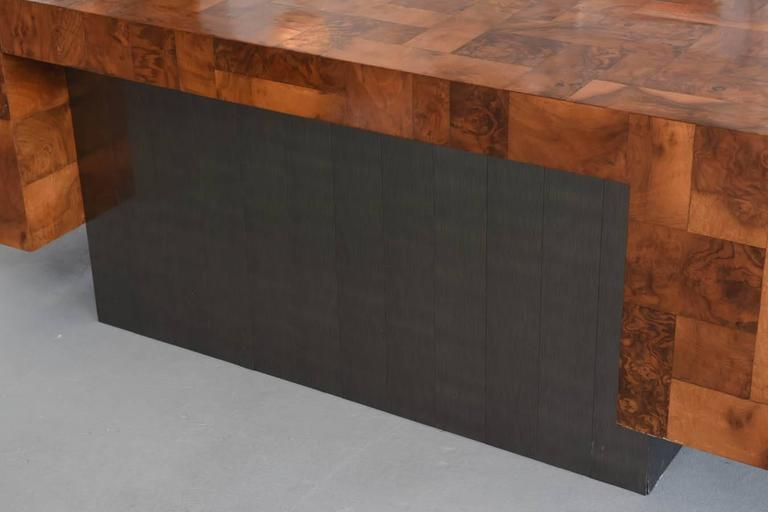 American Modern Burled Walnut and Pewter Cityscape Desk, Paul Evans For Sale 4