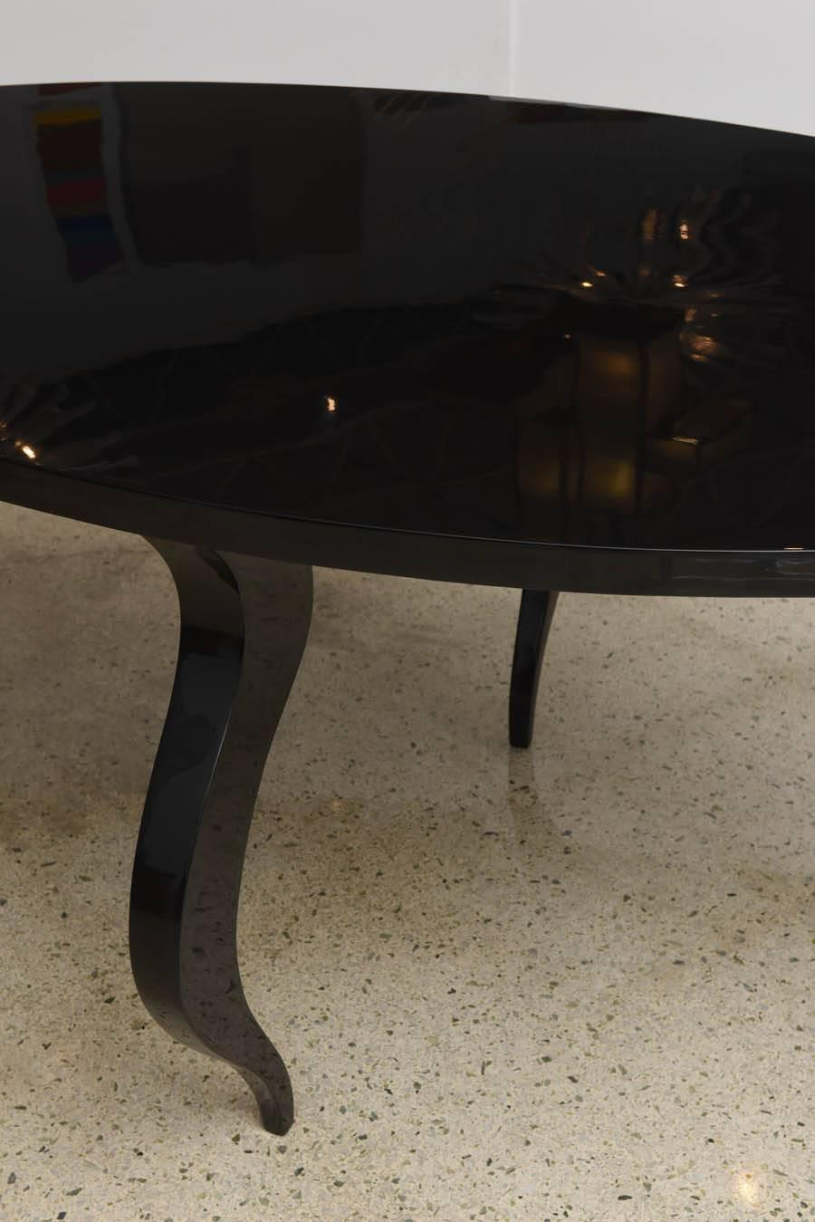 italian modern black lacquer center dining table for sale