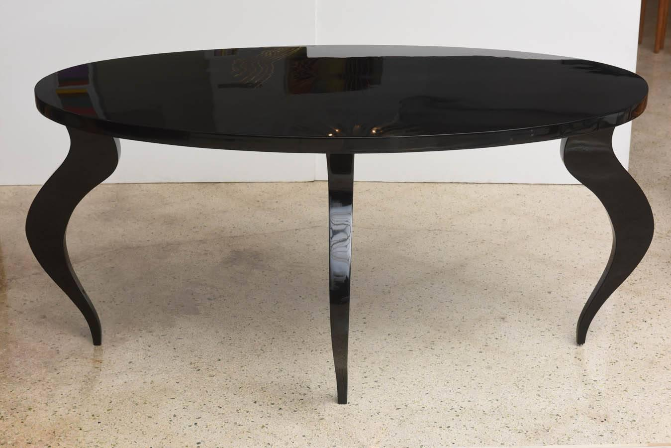 italian modern black lacquer center dining table for sale at 1stdibs