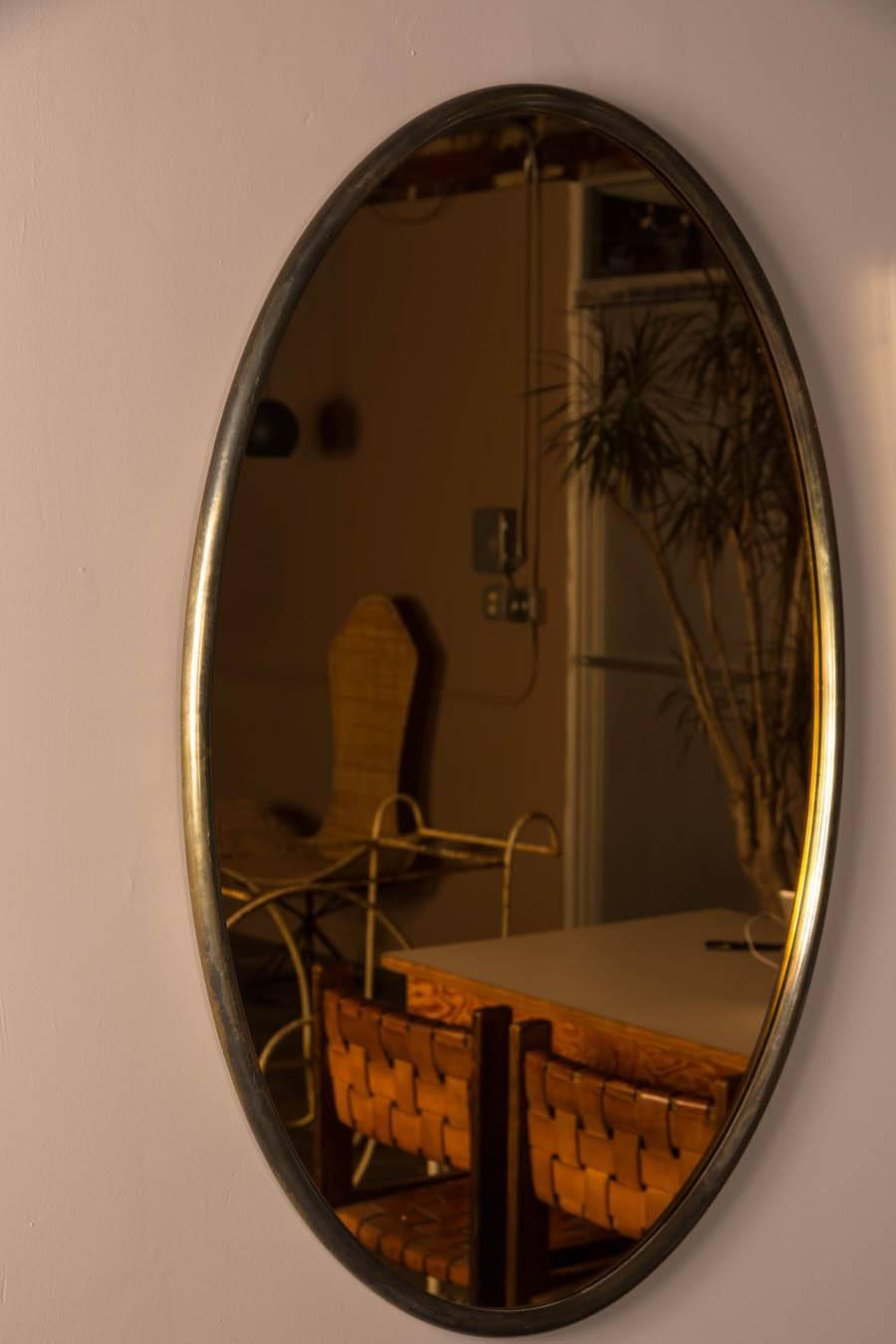 Italian Oval Brass Mirror With Copper Tinted Glass At 1stdibs