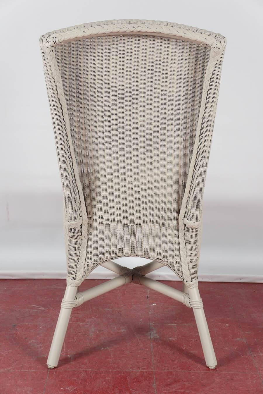 Six Vintage Lloyd Loom Wicker Dining Chairs For Sale at