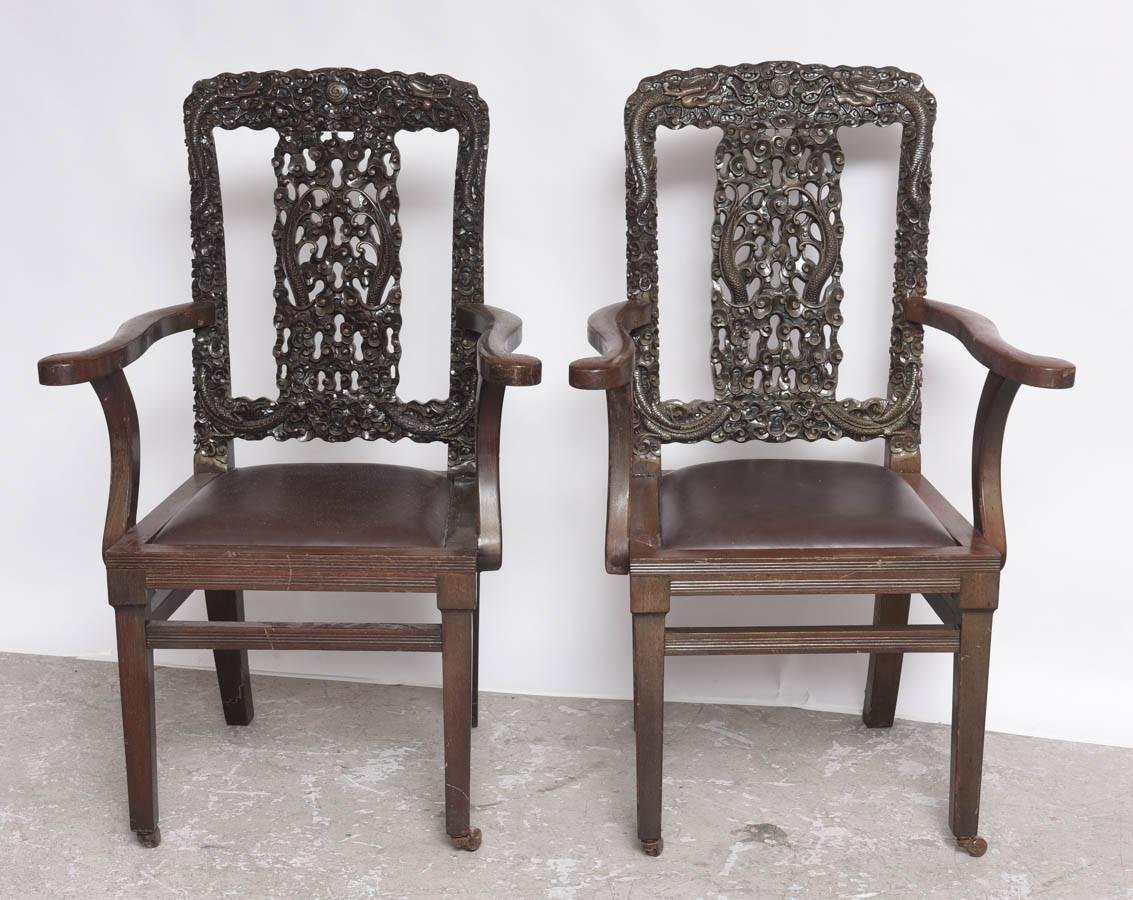Decorative Arm Chairs ~ Decorative antique hand carved chinese arm chairs for sale