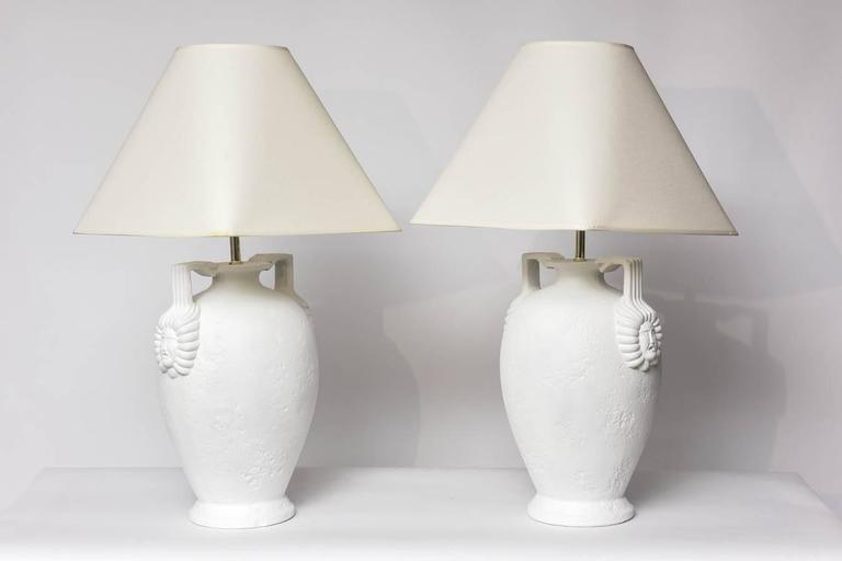 American Pair of Egyptian Revival Style French Plaster Table Lamps For Sale