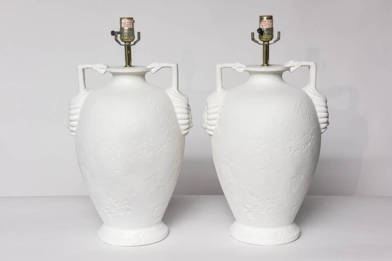 Pair of Egyptian Revival Style French Plaster Table Lamps In Excellent Condition For Sale In East Hampton, NY