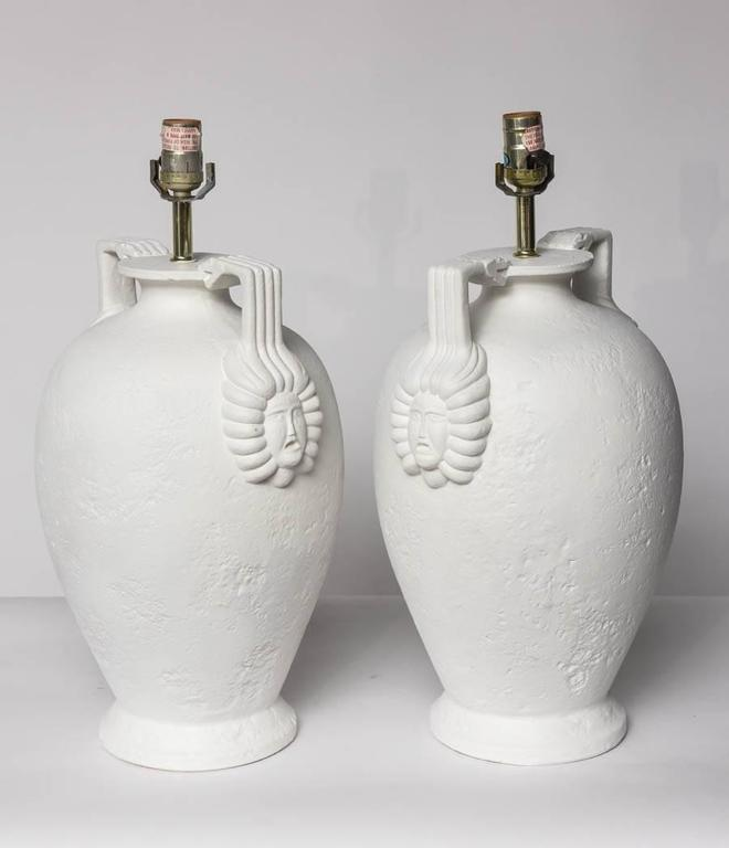 Mid-20th Century Pair of Egyptian Revival Style French Plaster Table Lamps For Sale