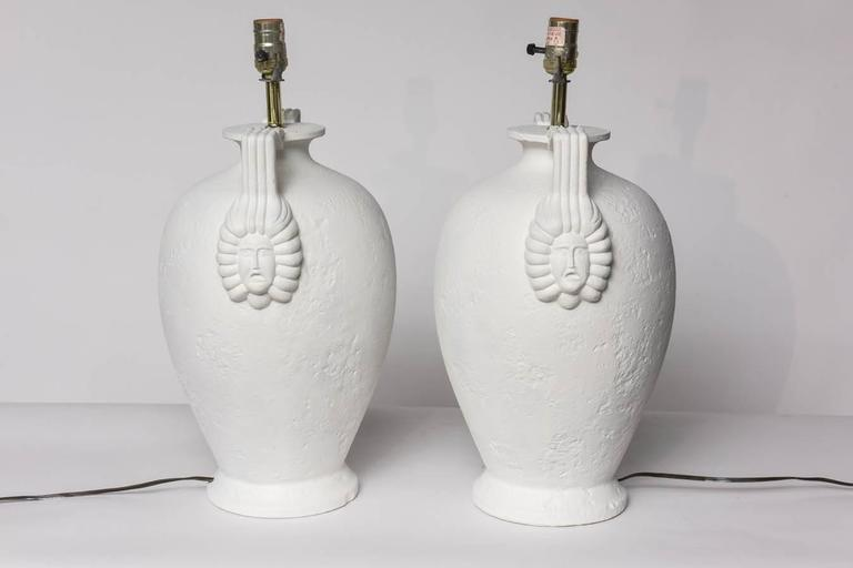 Pair of Egyptian Revival Style French Plaster Table Lamps For Sale 4
