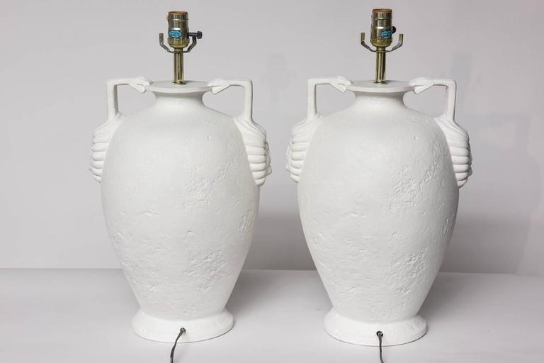 Pair of Egyptian Revival Style French Plaster Table Lamps For Sale 5