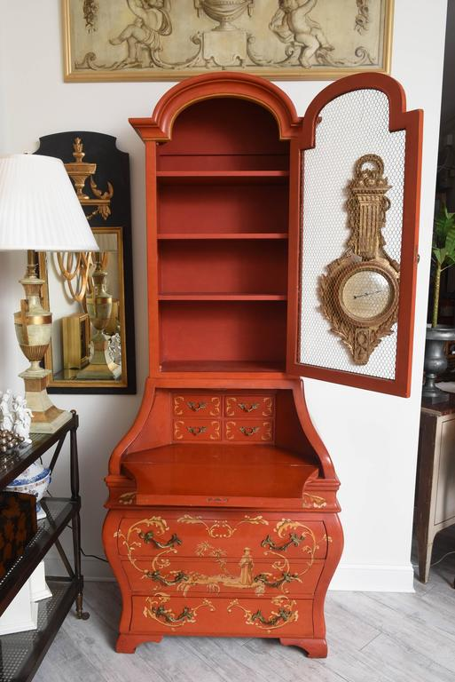 Red Chinoiserie Secretary Desk For Sale At 1stdibs