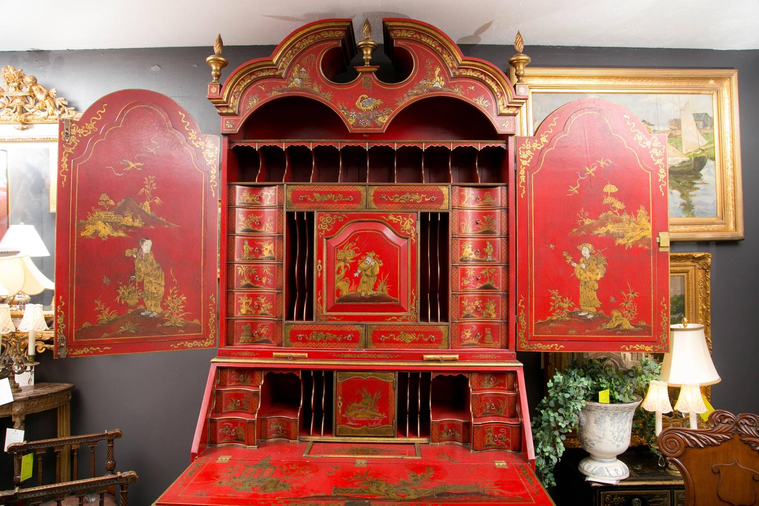 Hand Painted English Red Chinoiserie Secretary For Sale At