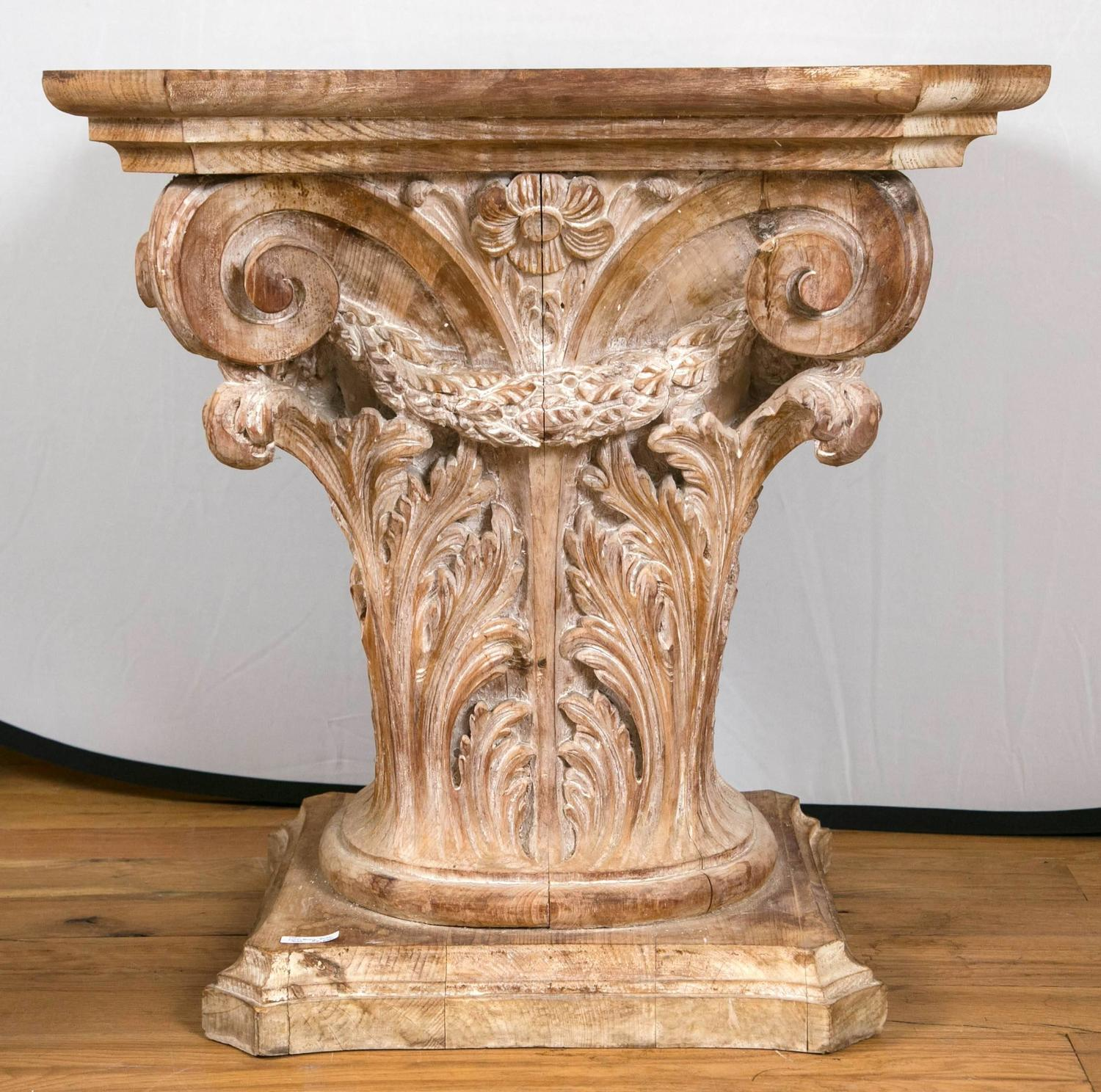 Architectural Column Base : Wooden corinthian column form table base at stdibs