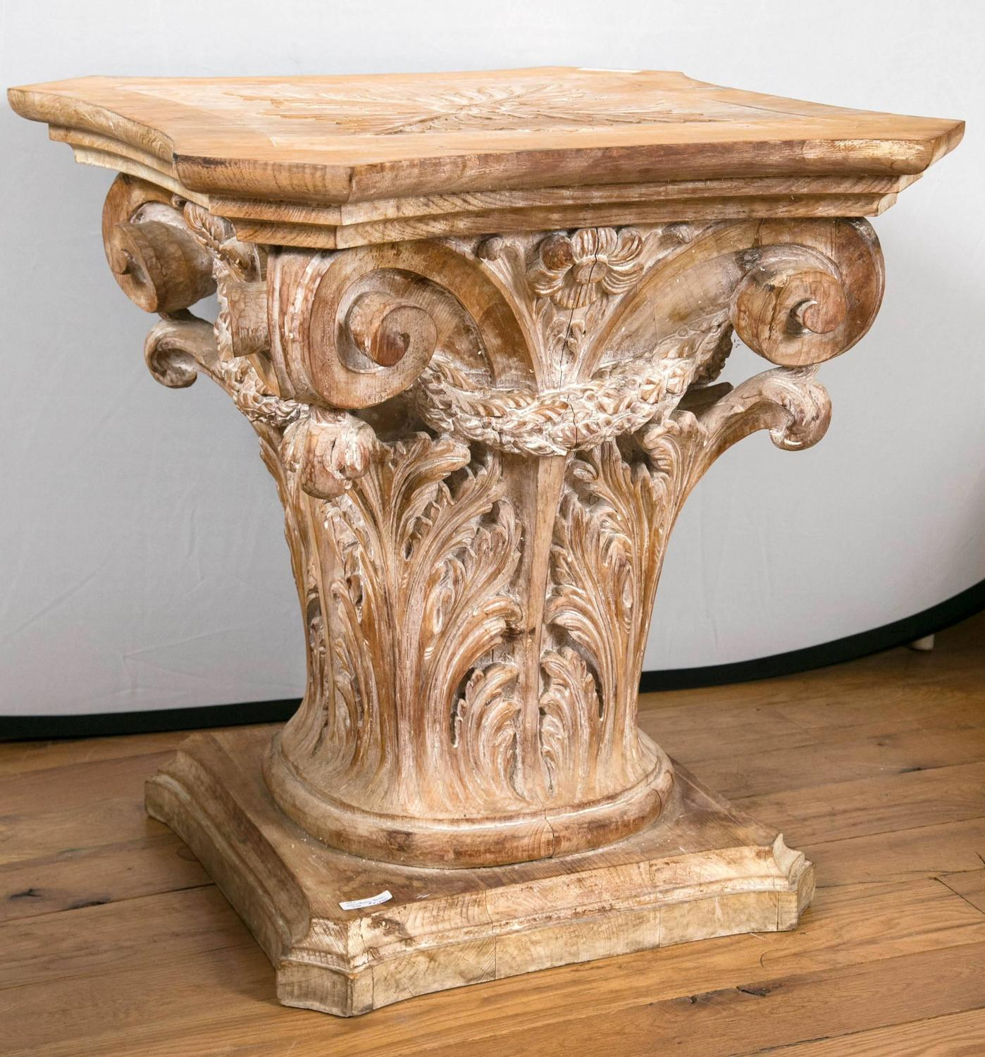 Wooden corinthian column form table base at 1stdibs for Table column