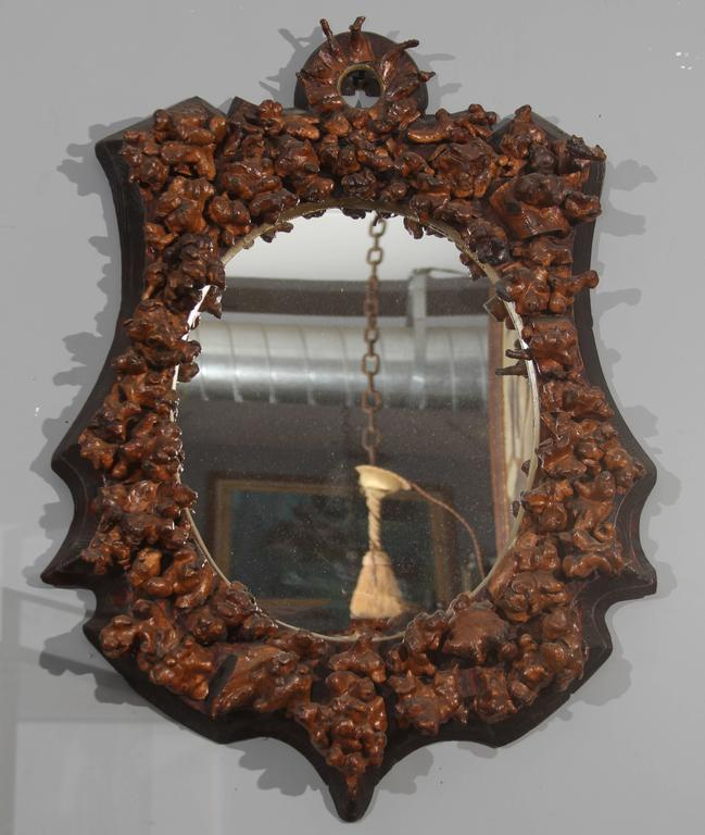 Early 19th century Folk Art mirror of gnarled grapevine knuckles from vineyard in France. Beautiful.