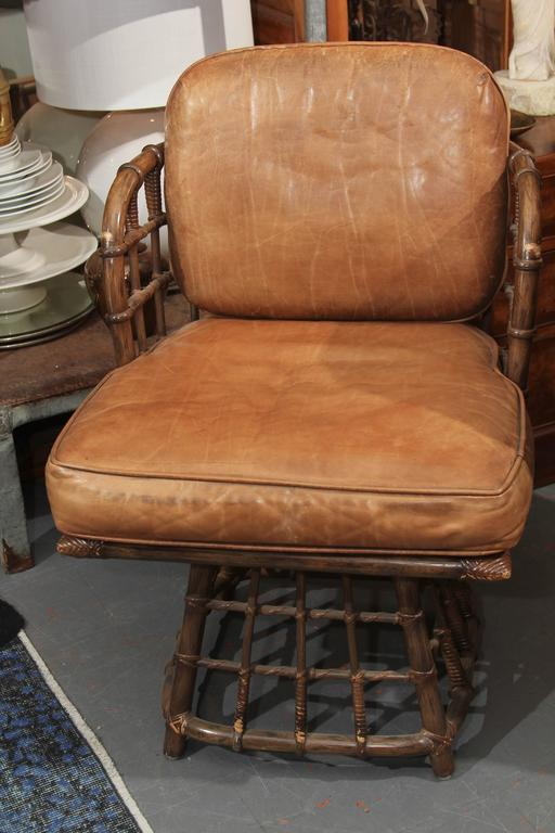 Pair of Maguire Swivel Chairs In Good Condition For Sale In Seattle, WA