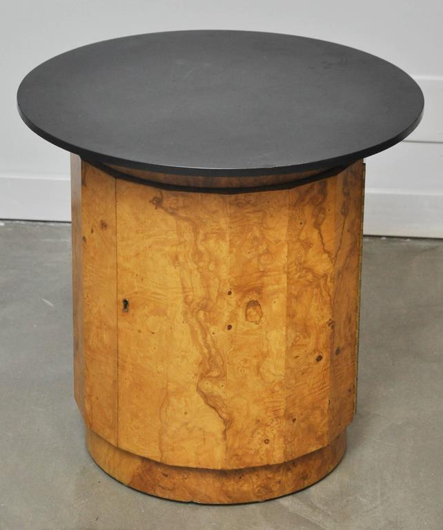 Burl wood locking storage end table by Edward Wormley with original slate top.