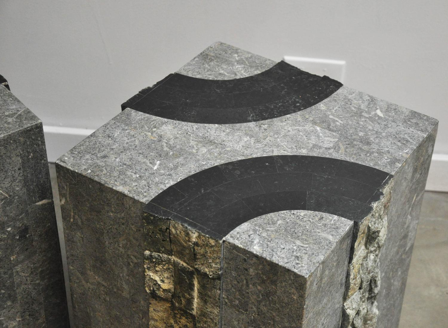 Graphic Tessellated Marble End Tables At 1stdibs
