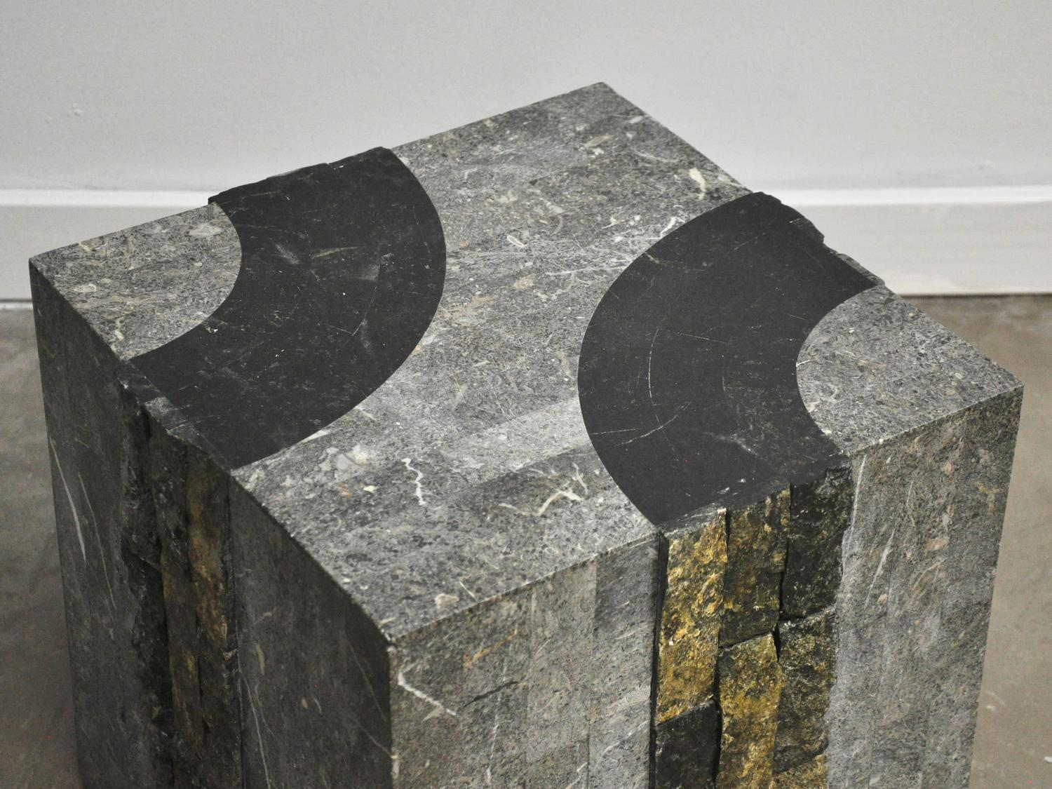 Graphic Tessellated Marble Side Table At 1stdibs