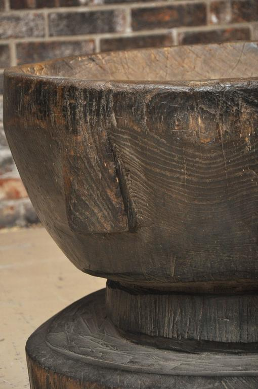 Late 19th or Early 20th Century Large Japanese Usu 'Wood Mortar' For Sale 4