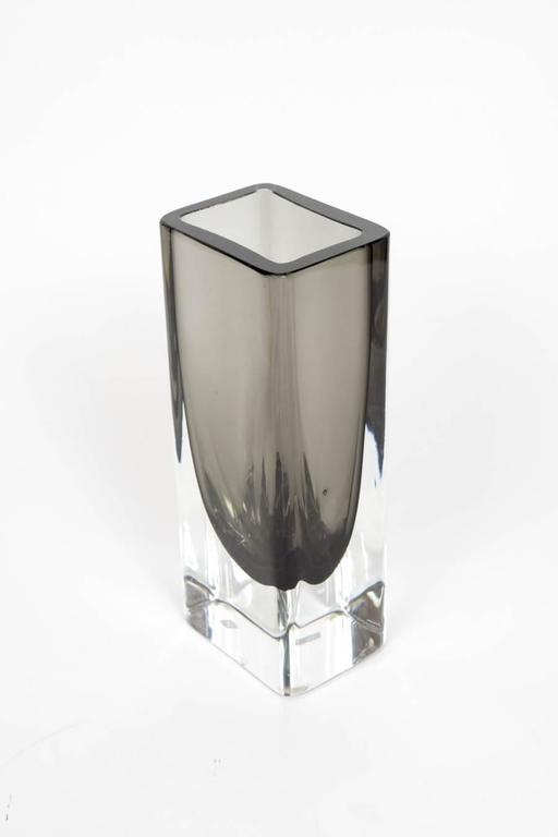 Italian Elegant Pair of Sommerso Murano Glass Vases For Sale