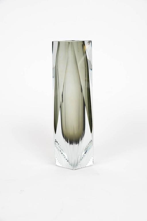 Mid-20th Century Elegant Pair of Sommerso Murano Glass Vases For Sale