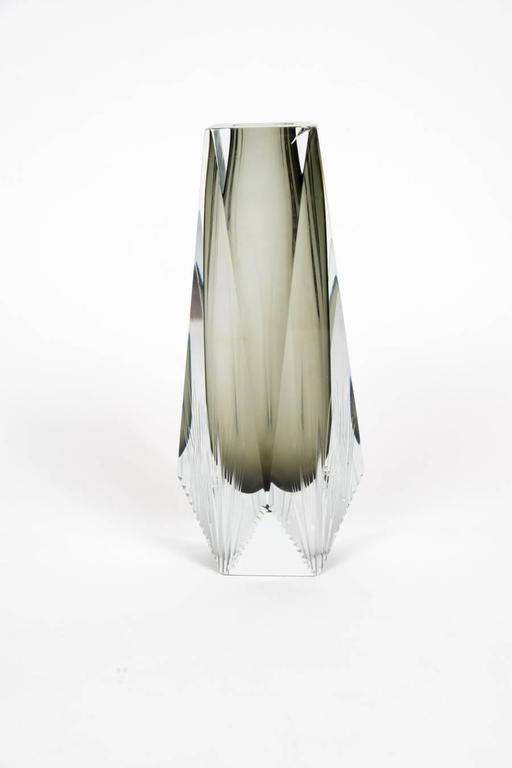 Elegant Pair of Sommerso Murano Glass Vases For Sale 2