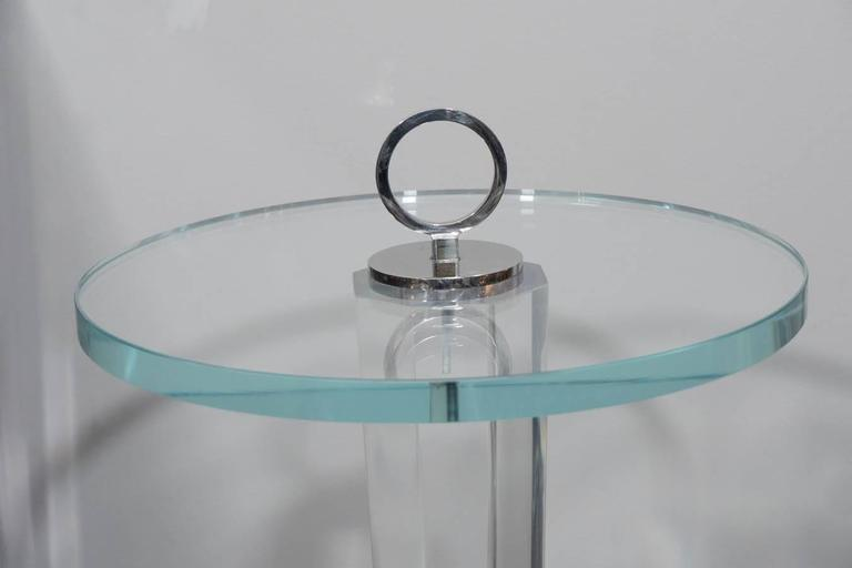 Lucite and Glass Occasional Table with Nickel Hardware In Excellent Condition For Sale In New York, NY