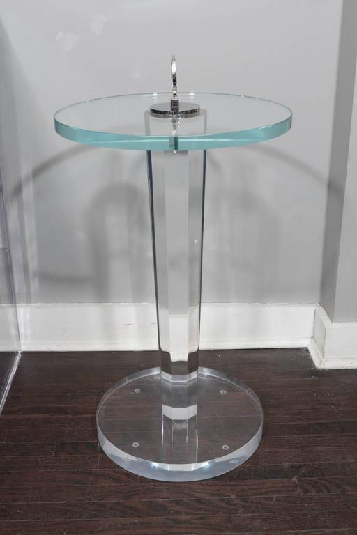 Lucite and Glass Occasional Table with Nickel Hardware For Sale 1