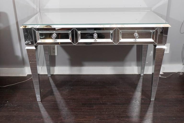 Custom Beveled Starphire Mirror Desk Vanity For Sale at