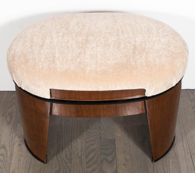 American Art Deco Streamlined Stool/Bench in the Style of Donald Deskey in Camel Mohair For Sale