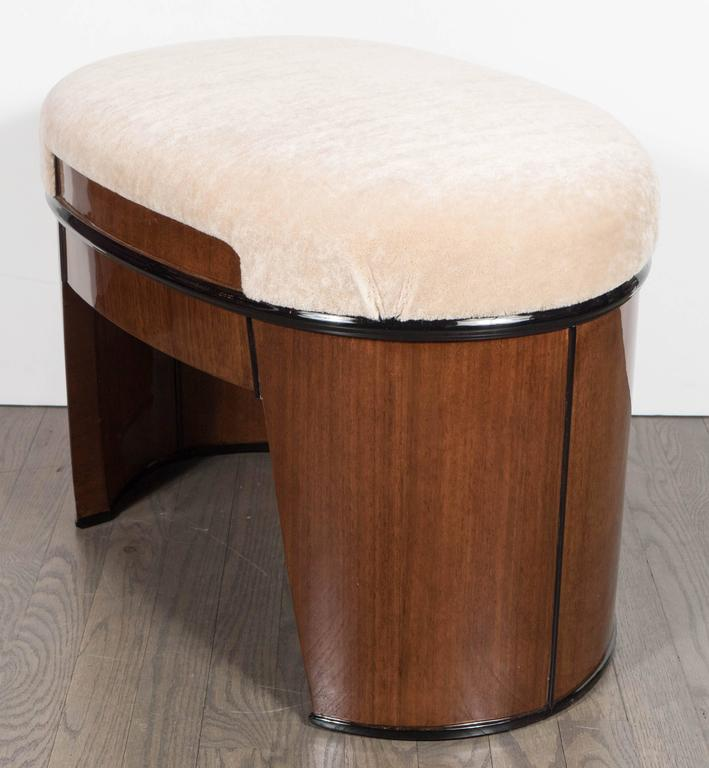 Art Deco Streamlined Stool/Bench in the Style of Donald Deskey in Camel Mohair In Excellent Condition For Sale In New York, NY