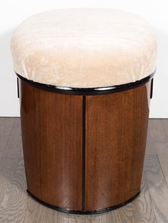 Mid-20th Century Art Deco Streamlined Stool/Bench in the Style of Donald Deskey in Camel Mohair For Sale