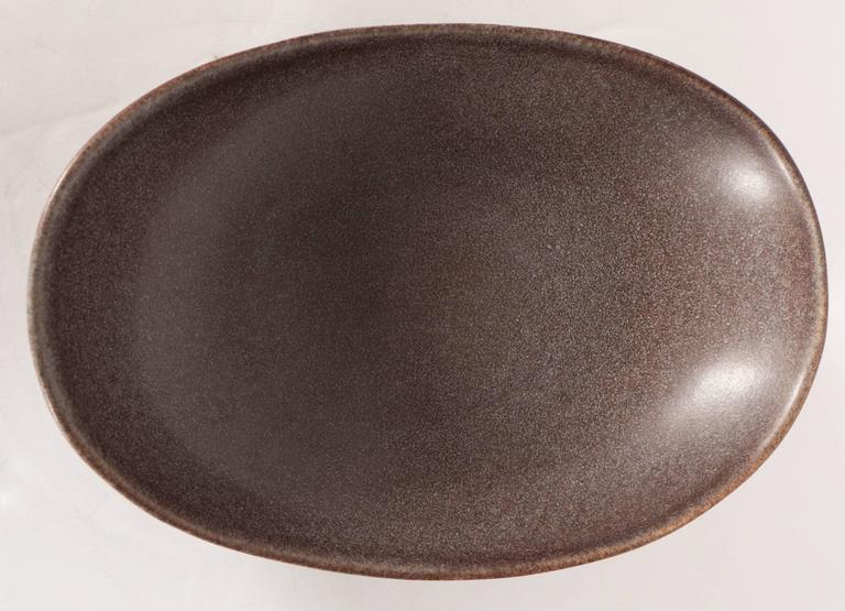 Ceramic  Mid-Century Modernist Ovoid Bowl by Carl-Harry Stålhane for Rörstrand For Sale
